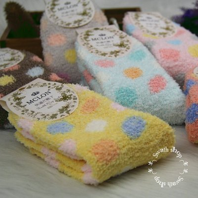 *╮S.water shop╭* 多色圓圈珊瑚絨 睡眠襪 保暖襪中筒/堆堆襪 FN#00093 共6色 (現貨)
