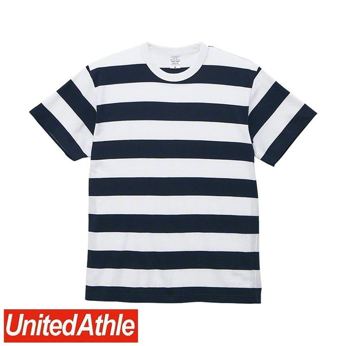 DIBO 免運~United Athle 男生 女生 日本UA 頂級柔棉 圓領短袖 條紋 T恤 5625-白/深藍-粗