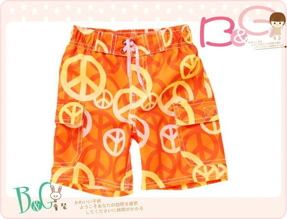 【B& G童裝】正品美國進口Crazy8 Peace Sign Swim Trunk橘色海灘褲18-24mos