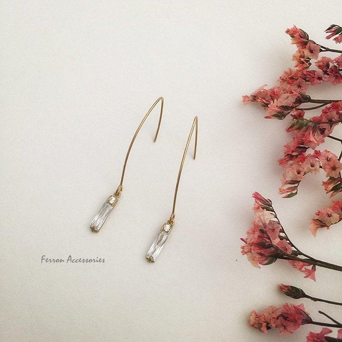 Ferron Accessories 琺隆  D125  小長方鋯石耳環   訂製  復古 歐美 黃銅