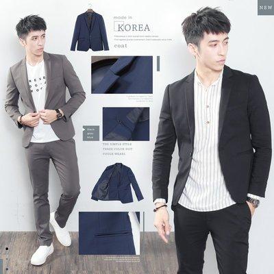 。SW。【K31178】免運 正韓MR 韓國製 修身顯瘦 質感 彈性佳 平滑西裝布 窄版雅痞 藍灰黑  西裝外套下標區