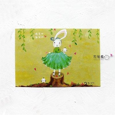 卡片 明信片*蕾絲兔-隆重地 謝謝你*不哭鳥