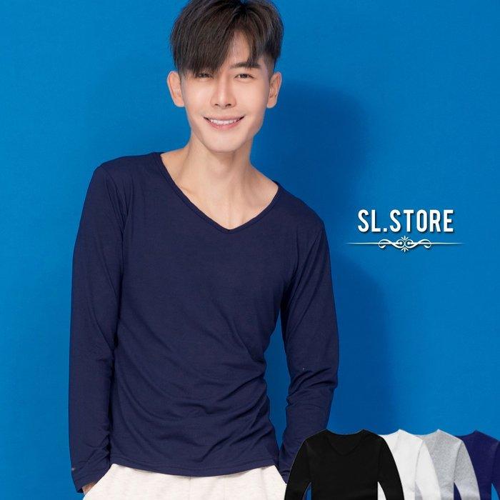 SL Store【CLT802】極簡百搭基本素色長袖V領T.黑/灰/白/丈青/M/L/XL