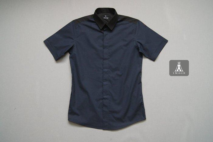 SIMPLE IMAGE(手工製作)藍黑色拼接短袖襯衫a657