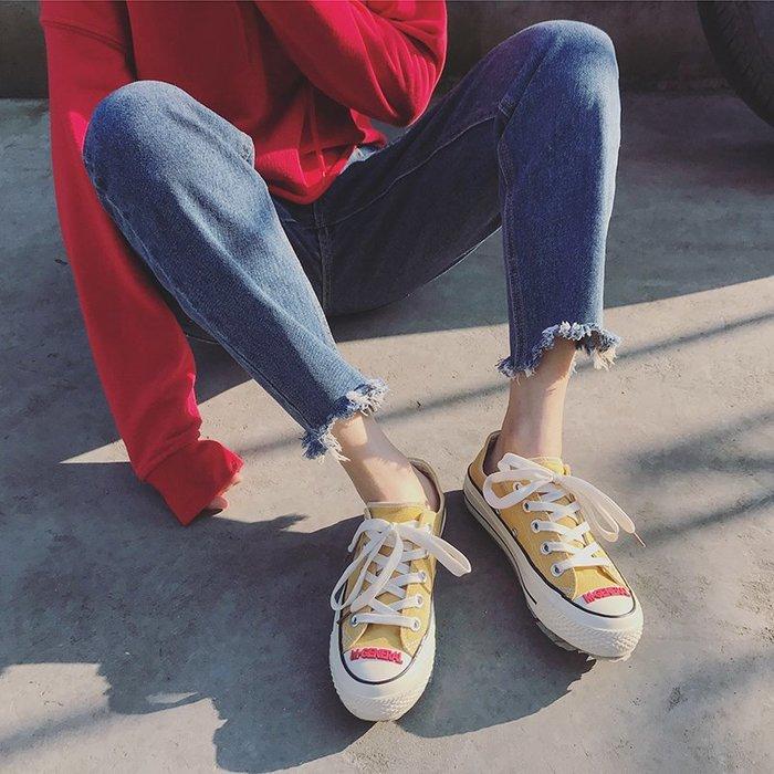 小尤家~街拍帆布鞋女新款鞋子學生韓版原宿ulzzang超火百搭chic板鞋