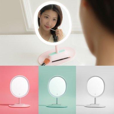5C精選@智能1:1臉型鏡 LED化妝鏡子帶可調燈可充電 女神創意禮品  三色可選