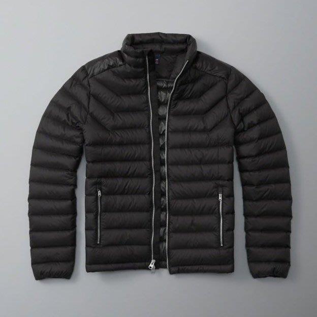美國百分百【Abercrombie & Fitch】羽絨 立領 外套 AF 麋鹿 保暖 夾克 男衣 黑色 M號 H347