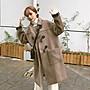 韓版寬鬆中長版牛角外套毛呢大衣BF外套...
