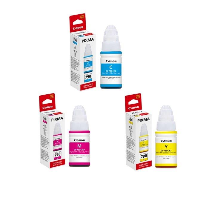 全新CANON GI-790 C/M/Y  藍/紅/黃 原廠盒裝墨水 適用G1000/G2002/G4000