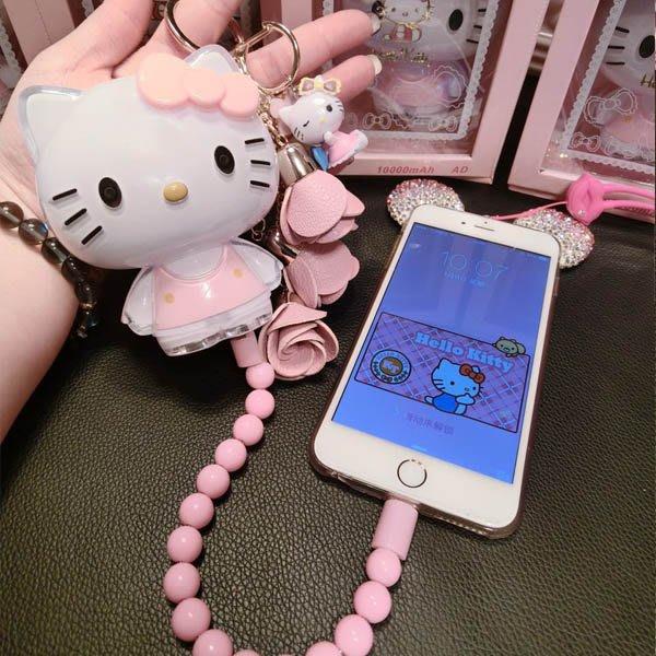 行動電源 卡通KT貓水晶移動電源 可愛超萌凱蒂貓手機通用充電寶10000毫安