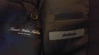 strellson 黑色細條紋100% 小羊毛單排三釦西裝