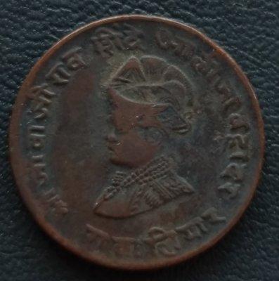 印度   瓜廖爾土邦     1929年    1/4 ANNA    銅幣   280-950