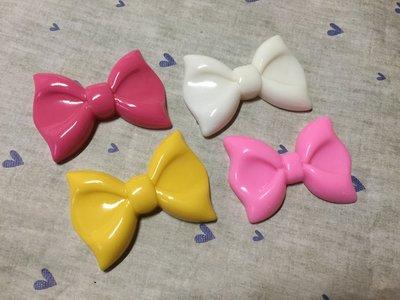 58mm*42mm 桃紅 白 黃 粉紅 蝴蝶結 造型DIY素材 奶油殼 貼鑽小物 飾品材料 (現貨)