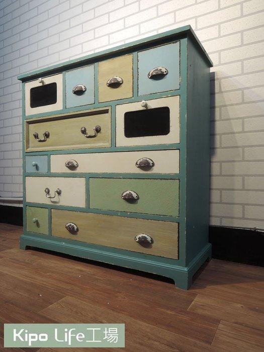 KIPO-法式鄉村複古做舊實木儲物櫃收納櫃玄關櫃拼色抽屜木櫃子 熱銷美式復古-NKR030104A
