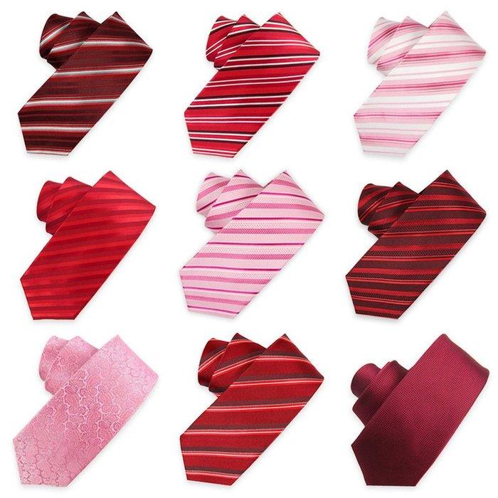 解憂zakka~ 男士真絲領帶男正裝商務 新郎結婚粉色酒紅色8CM 包郵#领带#领结