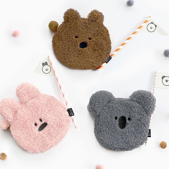 ❅PAVEE❅ 韓國iconic~ Furry Buddy Flat Pouch 捲捲毛 可愛動物扁平款收納包