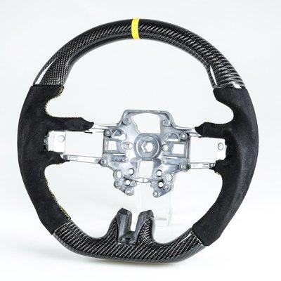 卡夢碳纖維+麂皮+黃環 方向盤 福特野馬Ford Mustang 用2019-2020年後期型(Facelift)適用
