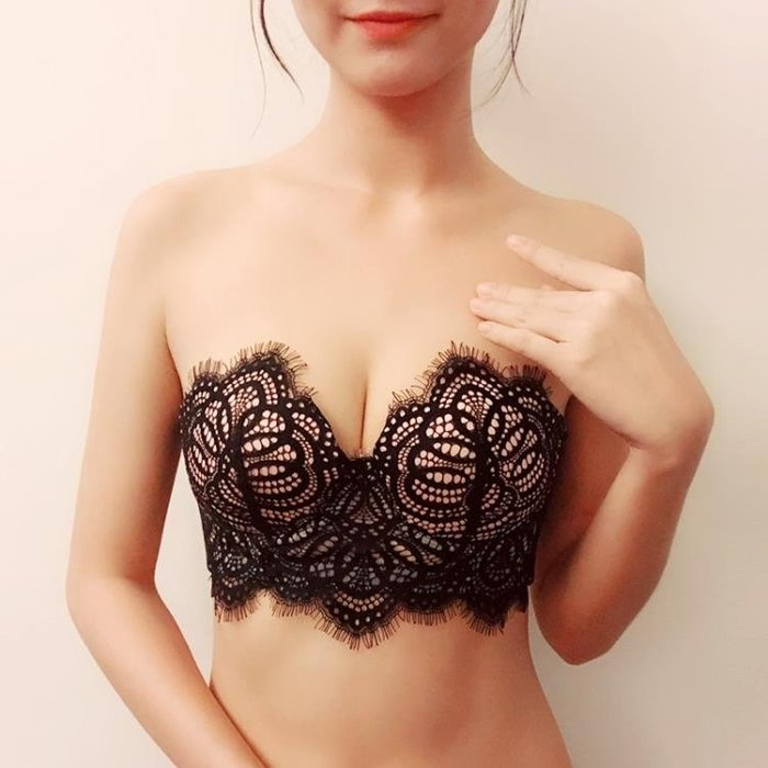 內衣 無肩帶內衣聚攏防滑上托文胸婚紗蕾絲隱形胸罩性感禮服抹胸式胸貼AMXP