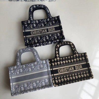 Dior小包cd包字母logo老花款刺繡帆布包托特包購物袋明星同款 23*17*7