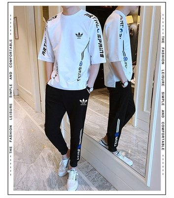 ✨時尚潮流館✨Adidas愛迪達 三葉草 夏季短袖T恤+運動長褲套裝 男士休閒套裝 潮流寬鬆一套男裝韓版T恤