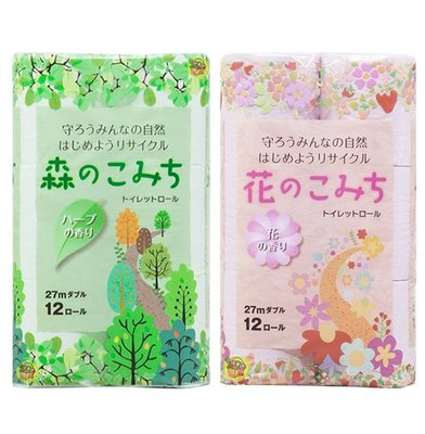 【JPGO】超取最多一包~日本製 再生紙材質 滾筒式衛生紙 12捲入~花朵香氣#877 / 草本香氣#252