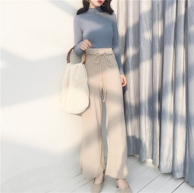 韓風Chic春夏系帶高腰修身顯瘦針織長褲純色簡約休閑百搭闊腿褲女