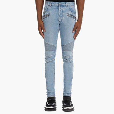 [全新真品代購-S/S21 新品!] BALMAIN 藍色水洗 B字刺繡 騎士牛仔褲