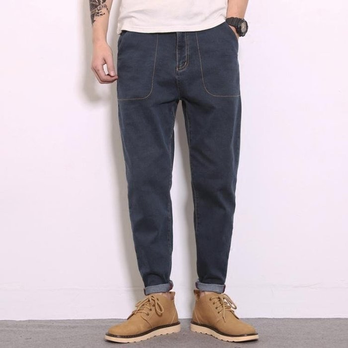 男褲子寬鬆大碼彈力哈倫褲小腳褲青少年潮--潮流前線