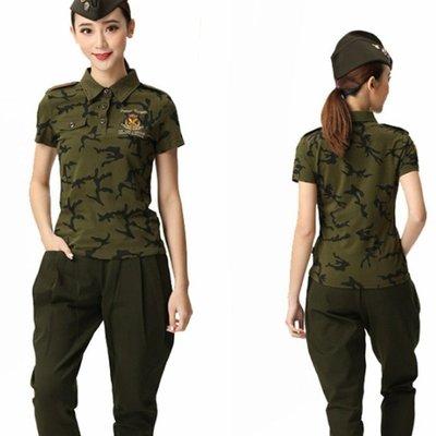 森林野戰水兵舞短袖戶外服裝廣場舞上衣演出服迷彩綠軍綠T恤夏軍訓新款舞衣POLO