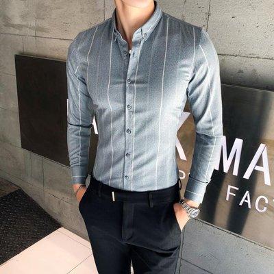 法式質感時尚色織豎細條紋襯衫 男士休閒長袖條紋襯衫 薄款潮流時尚