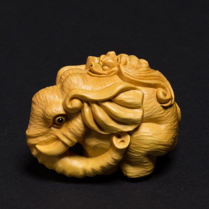 黃楊木雕大象創意實木招財風水汽車擺件雕刻工藝品文玩手把件福相