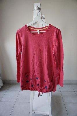 轉賣 a la sha 下擺大波點蝴蝶結造型圓領長袖T恤 sizeS桃紅色
