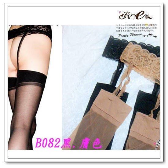 性感絲襪~花紋蕾絲黑色透明絲襪~日系性感甜美百搭長腿假吊帶襪~ 浪漫白黑膚色~流行e線B082