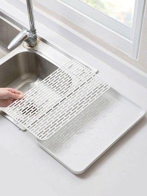 新款家居居家家 雙層瀝水盤塑料長方形置物架 廚房茶水托盤茶盤家用水果盤