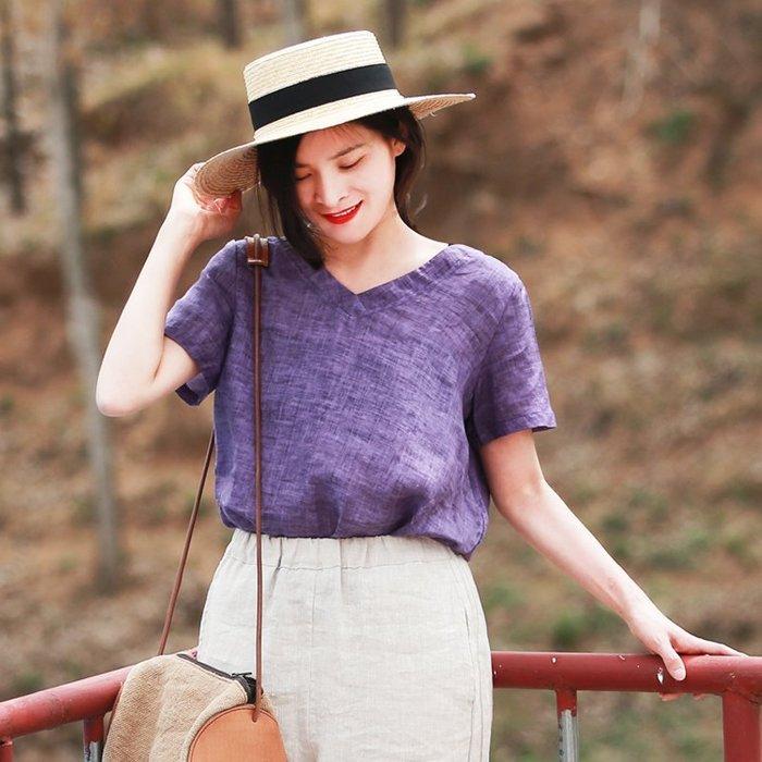 【鈷藍家】棉麻臆想 六月~四色亞麻衫短版基礎款旅行文藝短袖v領襯衫