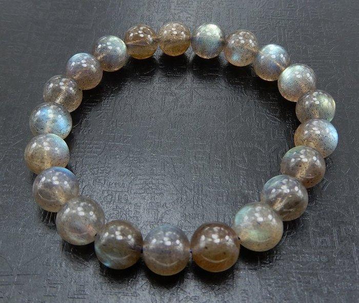 [天祥水晶]~天然綠色拉長石月光石手珠手鍊9mm圓珠清透~