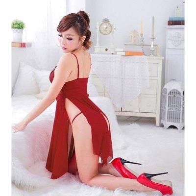 妖媚開襟性感薄纱睡衣睡裙含丁字褲 3-11深V爆乳 情趣性感睡衣內衣用品 角色扮演