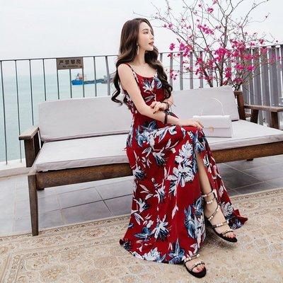 韓 實拍 ♥ 顯瘦露背連衣裙 E8592波西米亞洋裝 連身裙 沙灘裙