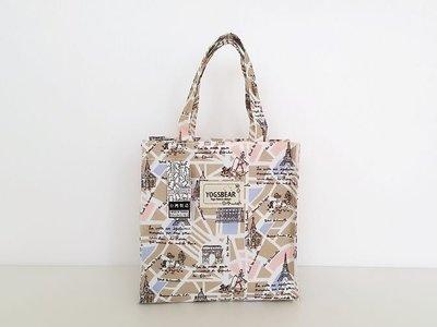 【YOGSBEAR】台灣製造 K 防水布 直立式手提袋 環保袋 水壺袋 手提包 拉鍊袋  便當袋 YG15