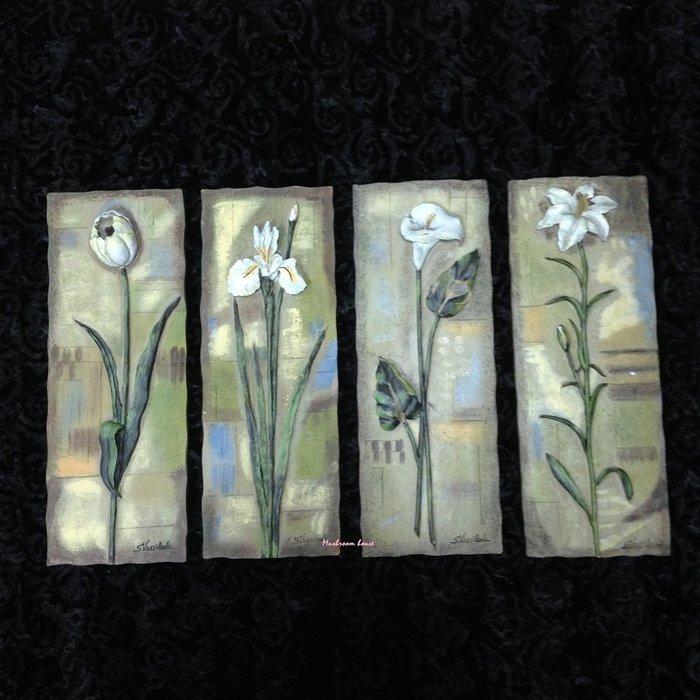 點點蘑菇屋{璧飾}美國 new view經典花卉壁掛畫(四片一組) 蘭花 水仙花 海芋 立體浮雕 掛飾 壁磚