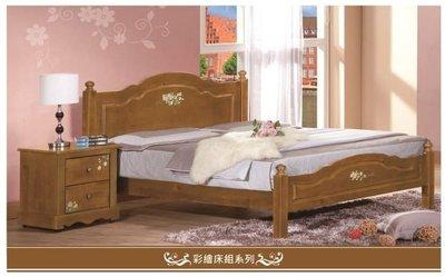 【大熊傢俱】鄉村風 彩繪 床台 實木 床架 床台 雙人床 單人床 可改烤白色 現貨展示