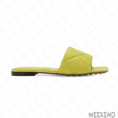 【WEEKEND】 BOTTEGA VENETA BV Rubber Lido 皮革 方頭 拖鞋 涼鞋 黃色