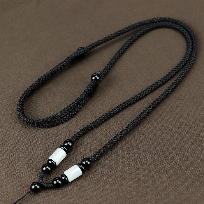 衣萊時尚-手工編織項鏈繩子豆種翡翠吊墜掛繩男女款掛脖和田玉佩掛件掛墜繩