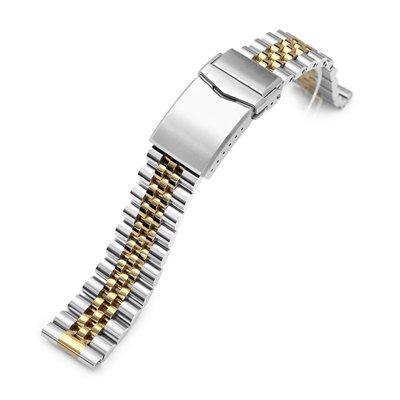 【太空人】20mm 新實心五珠 不鏽鋼拉砂 錶帶 V形按鍵式雙鎖潛水錶帶扣拉砂電鍍金色_SS201820PGD087S