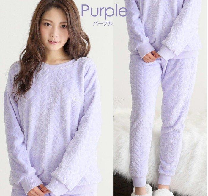 天使熊雜貨小舖~aimerfeel(紫色)電纜花紋fleece套衫  室內便服  睡衣 尺寸:L ~全新現貨~