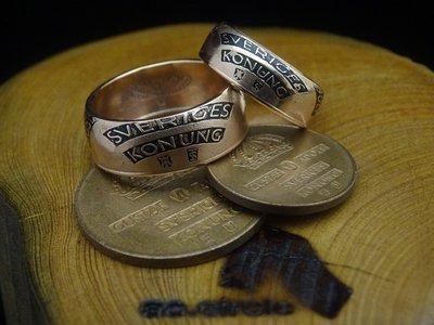 ao.circle 奢扣 1960~1970年代 瑞典 ORE 紫銅幣 {玫瑰金色} 客製化 手工 對戒 皇冠