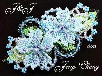 J&J精品~相依相偎~珠寶編織立體櫻花細緻髮夾~水藍款