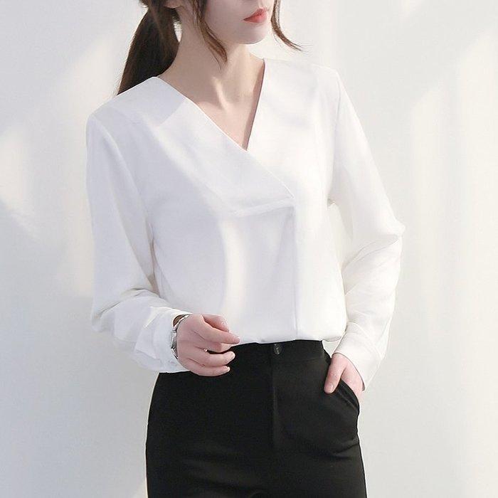 ~Linda~2018春季新款韓版V領雪紡衫女長袖簡約遮肚子寬鬆顯瘦白色襯衫