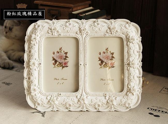 粉紅玫瑰精品屋~歐式復古田園公主水鑽相片框~現貨