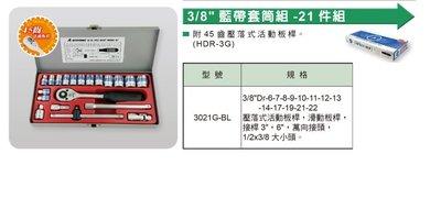 含稅(東北五金)ALSTRONG 3/8'DR 21PCS SOCKET WRENCH SET型號3021G-BL套筒
